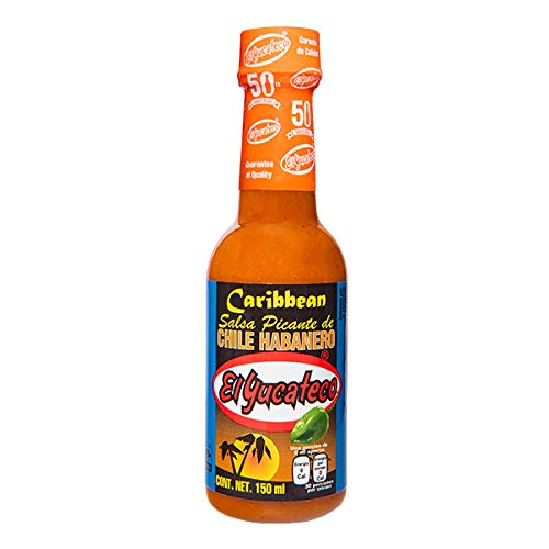 El Yucateco Salsa Picante Habanero Caribbean 150 ml caja con 12 piezas