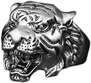 خاتم على شكل رأس النمر الفضي