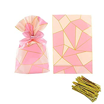 Pink Lattice Clear Cello Candy Favor Bags,Cellophane Cookie Treat Plastic Bags,with Gold Twist Ties Pack of 50