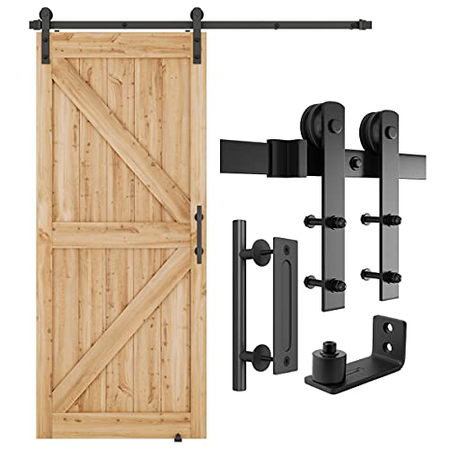 SMARTSTANDARD 6FT Heavy Duty Sturdy Sliding Barn Door Hardware Kit, 6ft Double Rail, Black, (Whole Set Includes 1x Pull Handle Set & 1x Floor Guide) Fit 36