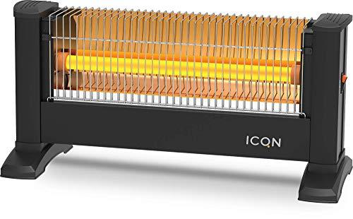 ICQN Infrarot Standheizstrahler | Für Räume bis 16m² | 900 W | IP20 | Elektroheizung | 1,5 Meter Kabel | Heizstrahler für Büro oder Haus | Infrarotheizer | IQ.0900.APW