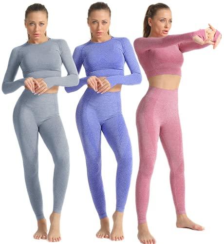 Conjunto Yoga 2 Piezas para Mujer Conjunto Deportivo Pantalones De Yoga Súper Elásticos Sin Costuras Camiseta Deportiva De Manga Larga Sin Costuras Mujer (Set 2 Azul, M)