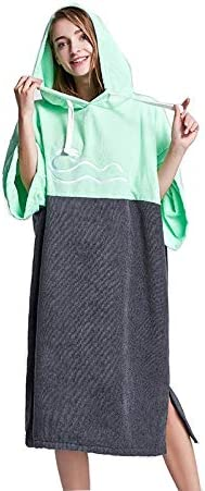 Jtoony Changing Robe Towel Poncho Quick-drying Dressing Diving Cloak Beach Bathrobe Windproof Warm Water Absorption And Quick-drying Beach Changing Towel Color : Green+gray, Size : 78x110cm
