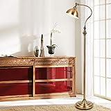 ZYLZL Lámparas de pie de lectura LED Lámpara de trabajo de piso rústica con acabado de bronce envejecido, luz de piso de metal con interruptor de pie para sala de estar, lectura, dormitorio, oficina