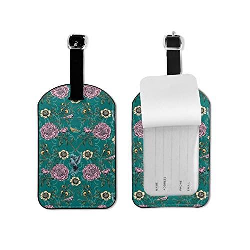 BVlleorueoi Etiquetas de equipaje de cuero para maletas con tarjeta de identificación de nombre para viajes, jardín victoriano, etiquetas de equipaje para hombres, niños y mujeres
