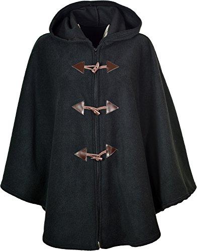 Damen-Poncho, warm und flauschig, mit Kapuze, Einheitsgröße, einfarbig, 78,7cm lang Gr. Einheitsgröße, schwarz