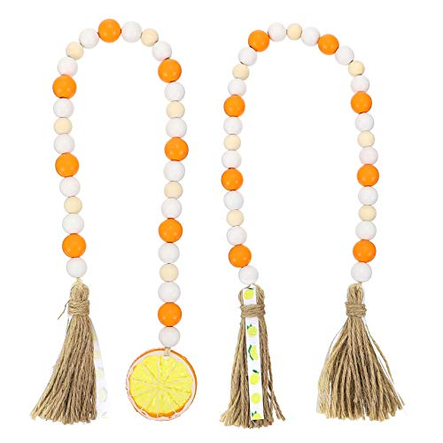 TOYANDONA 2pcs Wood Bead Garland with Tassel Farmhouse Rustic Beads with Jute Rope Plaid Tassel Natural Wood Beads for Home Decor Orange