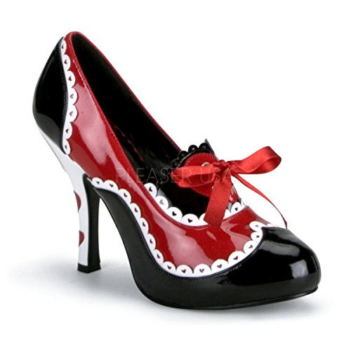 Funtasma by Pleaser Women's Queen-03/B women's costume shoes,Black/Red/White Patent,11 M US
