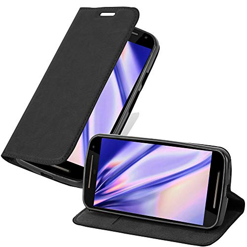 Cadorabo Hülle für Motorola Moto G2 - Hülle in Nacht SCHWARZ – Handyhülle mit Magnetverschluss, Standfunktion und Kartenfach - Case Cover Schutzhülle Etui Tasche Book Klapp Style