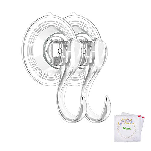 VIS'V Suction Cup Hooks, Small Clear Reusable Heavy Duty Vacuum Suction Cup Hooks with Cleaning Cloth Strong Window Glass Kitchen Bathroom Hooks for Towel Loofah Sponge Christmas Wreath - 2 Packs