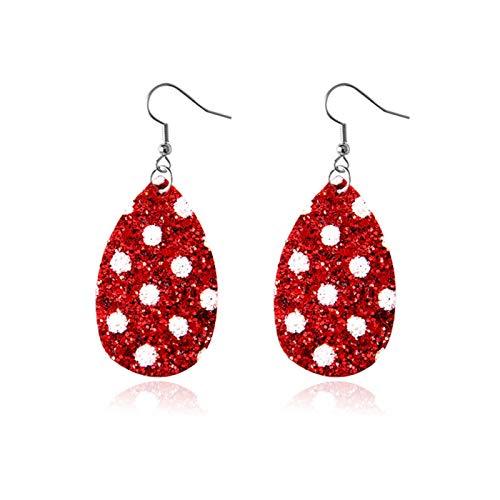 Ruby569y Pendientes colgantes para mujeres y niñas, de piel sintética con forma de lágrima de árbol con forma de corazón y gancho, joyería de regalo de Navidad - 7 #