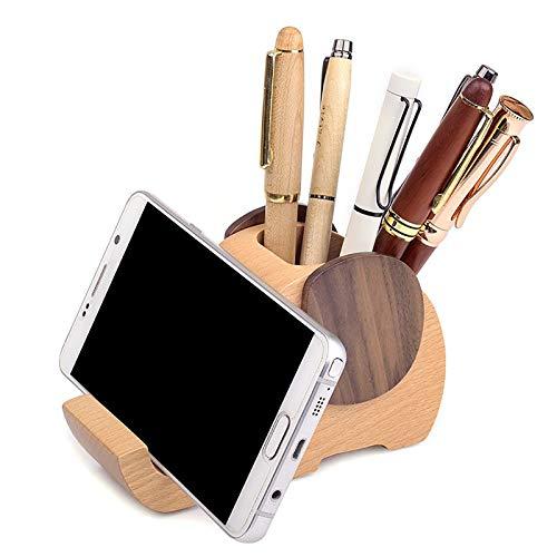 Soporte para bolígrafo de elefante, soporte creativo de madera maciza con soporte para teléfono,Organizador multifuncional de papelería para decoración de escritorio, para regalo