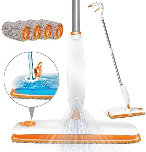 MASTERTOP Bodenwischer Sprühwischer mit 220 ml Wassertank, Wischer mit Sprühfunktion Spray Mop mit 4 Mikrofaser-Pads für Hartholz, Fliesen, Laminat, Marmor (Orange)