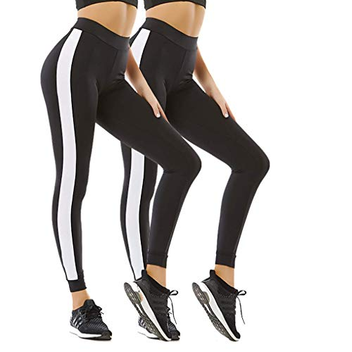 CK CrisKat - Set di leggings sportivi a righe bianche, a vita alta, da donna, pantaloni sportivi lunghi da palestra, fitness, corsa, esercizio per donna Nero M