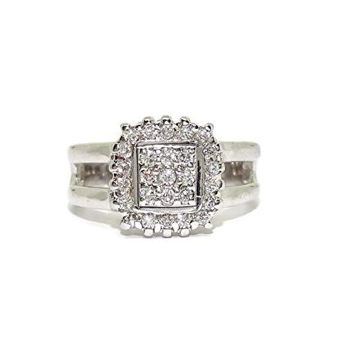 Never Say Never Anillo de Oro Blanco de 18k con 27 Diamantes Talla Brillante de 0.55cts. 6.15gr de Oro de 18k
