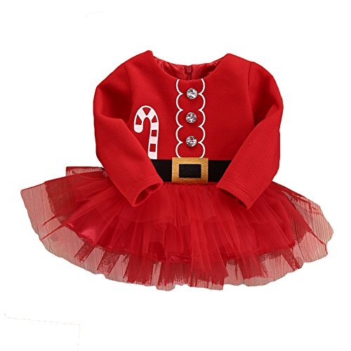 Yying Red Baby Filles Clothes Xmas Santa Claus Party Tulle Robes Outfits 70CM