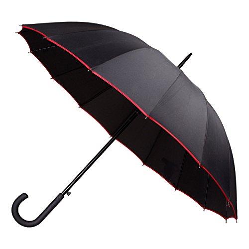 INZWISCHEN Regenschirm Rubber Regenschirm Cane, 101 cm, Rot / Rosa / Blau / Grau