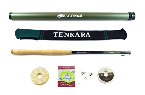 DRAGONtail Tenkara Hellbender Big Fish Zoom 13' / 11.3' Tenkara Rod Plus Complete Starter Package – Flies, Leader, Tippet, Line Holder, Storage Tube, and Rod Sock