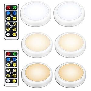 Iluminación inalámbrica debajo del armario, 6 piezas de luz de disco LED blanca cálida con control remoto, lámpara de noche ambiental, funciona con pilas AA, focos adhesivos