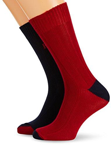 French Connection Herren Fluro Brights 2PK Socken, Mehrfarbig (Marine Blue/Ayre Red), One (Herstellergröße:One Size)