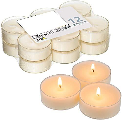 Smart Planet® Kerzen Ambiente - 12er Set Flatpack Jumbo Teelichter - Kerze weiß in transparenter Hülle - Teelicht