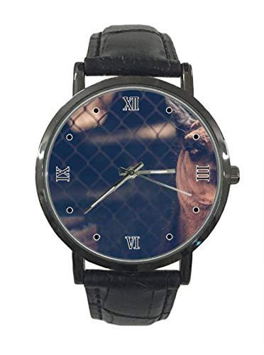 Reloj de pulsera de cuarzo analógico de cuero de acero de moda simple de color camello