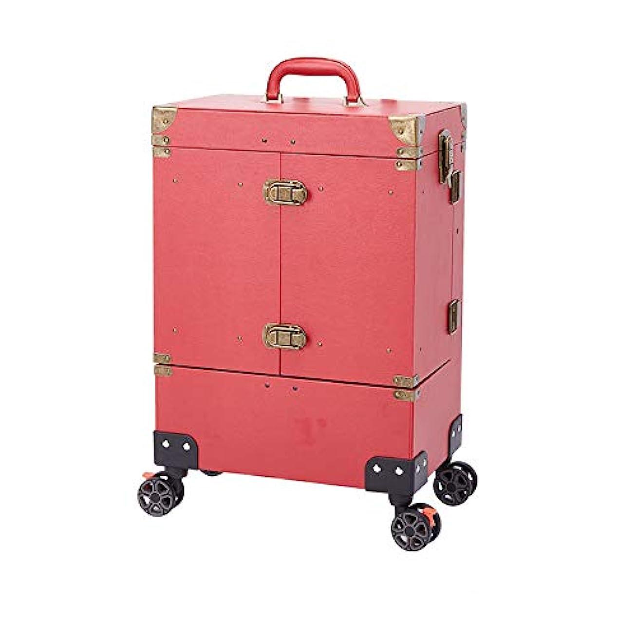 プロテスタントリマークシャンパンネイル化粧トロリーケース、大容量化粧箱ケース荷物ローリング、多層美容院タトゥートロリースーツケース,Red