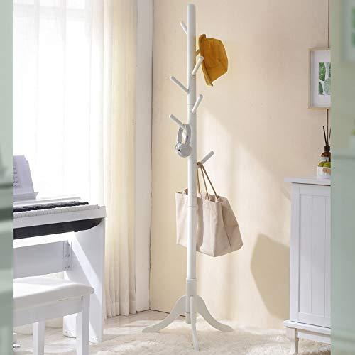 Vlush Garderobenständer Holz Kleiderständer mit 8 HackenEingang in Baumform mit Solider Basis aus Gummiholz für Kleidung, Hüte,Schale,Handtaschen, Regenschirm (Weiß)