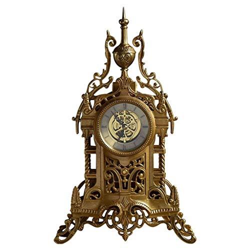 LCZ Schreibtisch Uhr Mute Metall Dekorative Uhr (Farbe: Kupfer),Messing