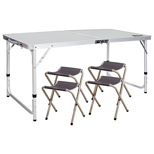 REDCAMP Outdoor Picnic Table Adjustable, Folding Camping Table with 4 Chairs, Aluminum White 47.2'x23.6'x27'