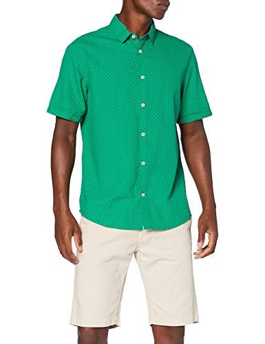 TOM TAILOR Herren Ray Seersucker Hemd, 23282-green Tonal Cactus d, S