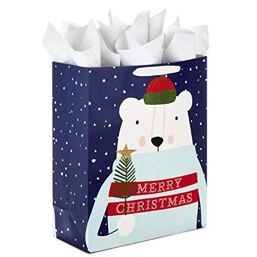 Hallmark Christmas 15' Extra Large Gift Bag with Tissue Paper (Merry Christmas Polar Bear )