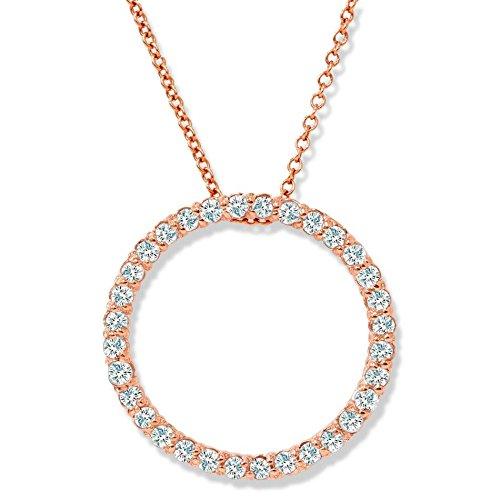 1/2ct diamante círculo colgante 14K oro rosa