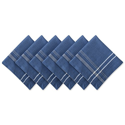 DII 100% Cotton Everyday French Stripe Tabletop Collection, Napkin Set, Blue Chambray 6 Count