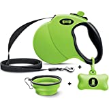 Ruff 'n Ruffus Retractable Dog Leash with Free Waste Bag Dispenser and Bags + Bonus Bowl | Heavy-Duty 16ft Retracting Pet Leash | 1-Button Control | (Retractable Dog Leash (with Free Bonus))
