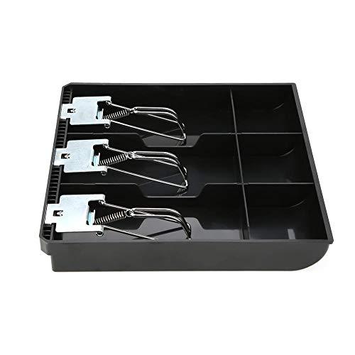 Caja Registradora Insertar Bandeja Cajero de Repuesto Cajón de Tres Cajas Con Clip de Metal Para Supermercado Tienda Hotel Escuela Hospital(Negro)