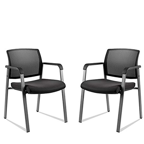 CLATINA Mesh Back Stacking Arm Chairs with Upholstered Fabric Seat and Ergonomic Lumbar Support for Office School Church Guest Reception Black 2 Pack Set