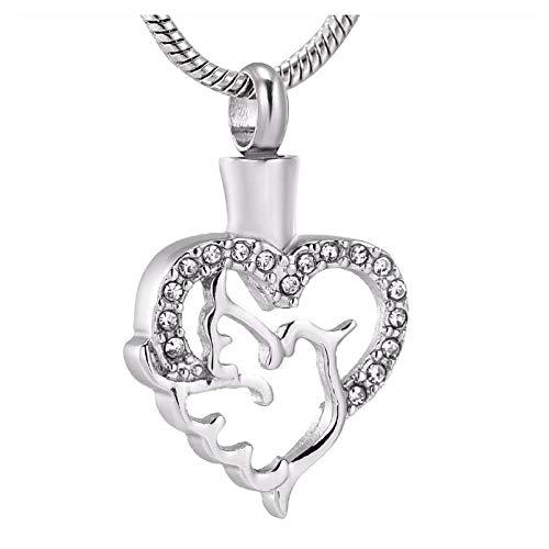 Wxcvz Colgante para Conmemorar Hermoso Collar De Urna De Cenizas De Cremación De Corazón Hueco para Mujer, Mascota De Acero Inoxidable O Corazón Humano, Mantenga Askependant