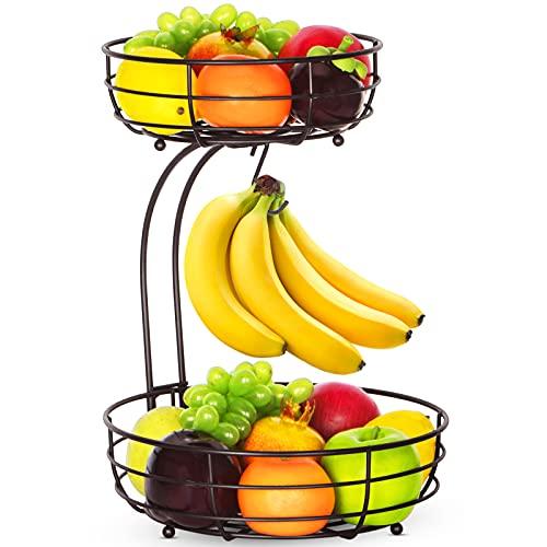Bextsrack 2-Tier Countertop Fruit Basket Bowl with Banana Hanger for Kitchen, Dining Table, Bronze
