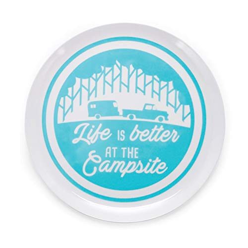 Camco Life is Better at The Campsite Large Dinner Plate - White with Teal and Navy Retro RV, Camper, and Trailer Print, BPA Free, Melamine (53227)