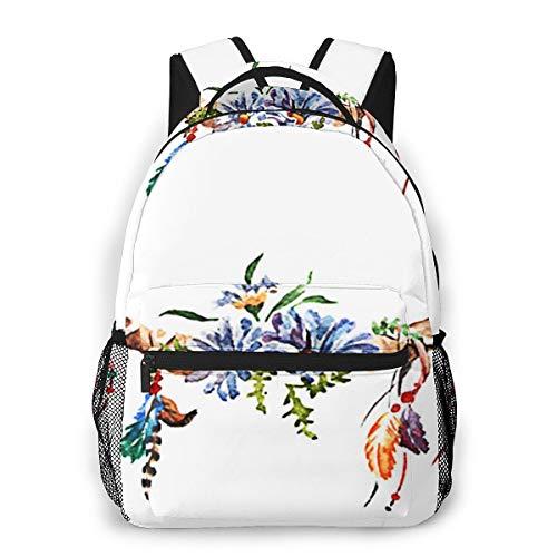 Laptop Rucksack Schulrucksack Blumensträuße Tierhörner, 14 Zoll Reise Daypack Wasserdicht für Arbeit Business Schule Männer Frauen
