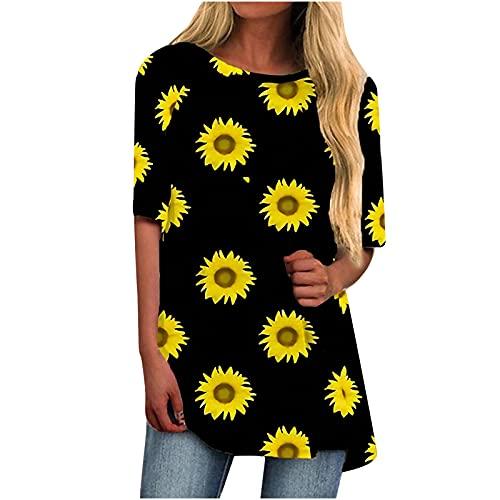 Camiseta larga para mujer, de verano, cuello redondo, manga corta, con estampado de flores Negro S