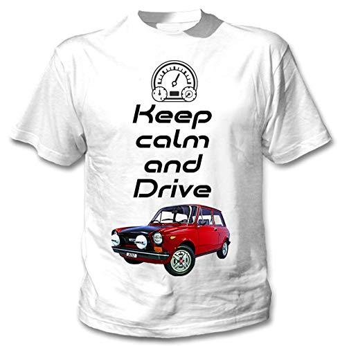 Teesandengines Autobianchi A112 Abarth Keep Calm Camiseta Blanca para Hombre de Algodon Size Xxlarge