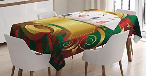 Torneo de póquer decoración mantel por Ambesonne, lujo juego fortuna Playing Cards mano Casino ruleta, comedor cocina funda para mesa rectangular, multicolor, tela, Multi 1, 60' W By 84' L