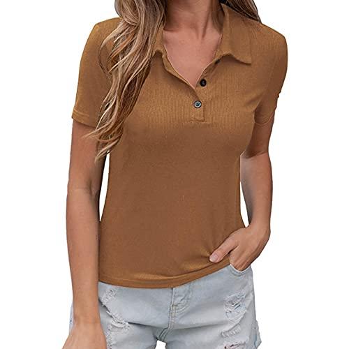 YANFANG Camiseta con Cuello Polo,Camisa De para Mujer Camiseta Manga Corta con Cuello En V Blusa Tops Casuales,Camisetas Mujer,Camiseta Algodon,XL,Marrón
