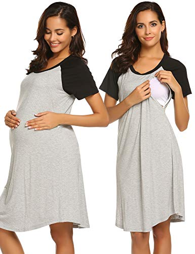 EKOUAER Damen Schwangerschafts Kleid Pflege Nachthemd Für Das Stillen Nachtnachtwäsche L 5112-Hell Grau