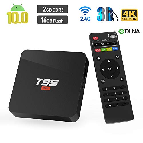 Android 10.0 TV Box, T95 SUPER Allwinner H3 Quad-Core CPU 2GB RAM 16GB ROM Ultra HD 4K Auflösung 2.4GHz WiFi 100M LAN HDMI 2.0 Smart Media Player