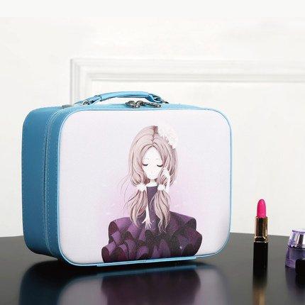 Grand voyage cosmétique sac grande capacité portable portable multifonction mignon trompette sac de rangement sac de lavage,Blue,L