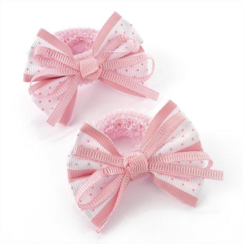 Pair of Mini Polka Dot Bow set on Ponios (Pale Pink)