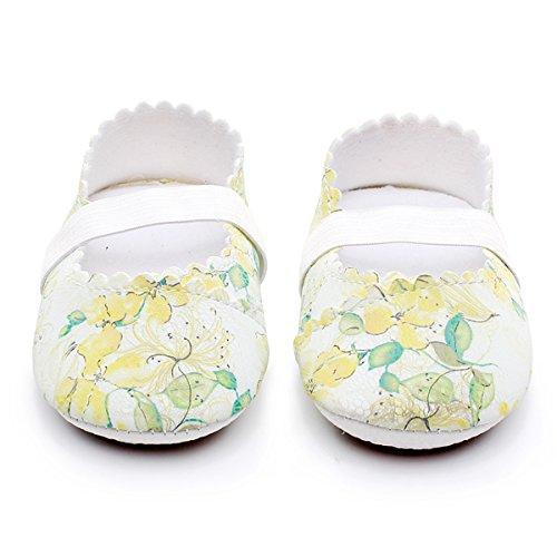 HONGTEYA Print Flower Baby Girls Shoes Mary Jane Baby Sandals (0-6M/4.33inch, Yellow Flower)